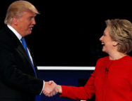 Republican U.S. presidential nominee Donald Trump and Democratic U.S. presidential nominee Hillary Clinton shake hands at the end of their first presidential debate at Hofstra University in Hempstead