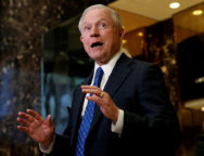 U.S. Senator Jeff Sessions (R-AL), speaks to members of the Media in the lobby of Trump Tower in the Manhattan borough of New York City