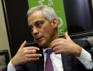 Chicago Mayor Rahm Emanuel speaks during an interview with Reuters after taking part at the C40 Mayors Summit at a hotel in Mexico City