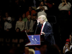 U.S. President-elect Donald Trump speaks at a USA Thank You Tour event at U.S. Bank Arena in Cincinnati