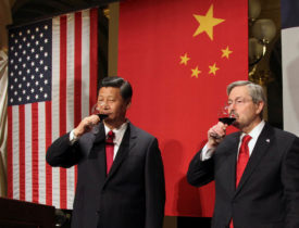 China Vice President Xi is welcomed by Iowa Governor Branstad in governor's office before state dinner at Iowa State Capitol in Des Moines