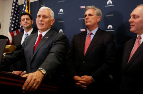 Pence joins Rodgers, Ryan, McCarthy and Scalise to speak to reporters after meeting with the Republican House caucus at the U.S. Capitol in Washington