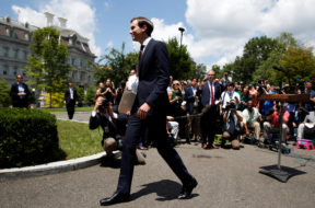 Senior Adviser to the President Jared Kushner walks from the lectern after speaking outside the West Wing of the White House in Washington