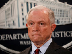 U.S. Attorney General Jeff Sessions looks on during a news conference announcing the takedown of the dark web marketplace AlphaBay, at the Justice Department in Washington