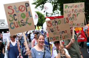 Protestors march against education cuts in London