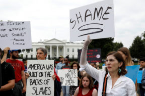 Demonstration at the White House in Washington