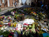 Flowers are pictured on the street where Heather Heyer was killed when a suspected white nationalist crashed his car into anti-racist demonstrators in Charlottesville
