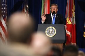 U.S. President Trump announces his new policy for the war in Afghanistan at Fort Meyer, Virginia