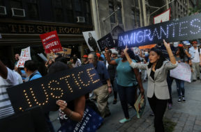 People march and chant slogans against U.S. President Donald Trump's proposed end of the DACA program that protects immigrant children from deportation at a protest in New York City