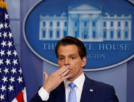 FILE PHOTO: Scaramucci blows a kiss to reporters after addressing the daily briefing at the White House in Washington