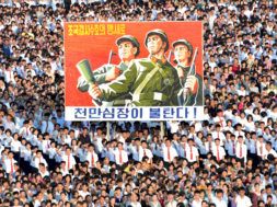 A view shows a Pyongyang city mass rally held at Kim Il Sung Square to fully support the statement of the DPRK government