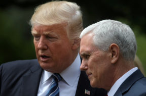 FILE PHOTO – U.S. President Donald Trump and Vice President Mike Pence at the Rose Garden of the White House in Washington