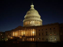 FILE PHOTO: The U.S. Capitol Building is lit at sunset in Washington