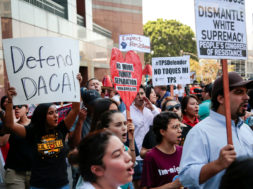 Protesters gather to show support for the DACA program recipient during a rally outside the Federal Building in Los Angeles
