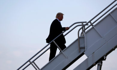 U.S. President Donald Trump departs aboard Air Force One to return to Washington from Indianapolis International Airport in Indianapolis