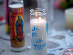 Candles are shown at a makeshift memorial during a vigil marking the one-week anniversary of the October 1 mass shooting in Las Vegas