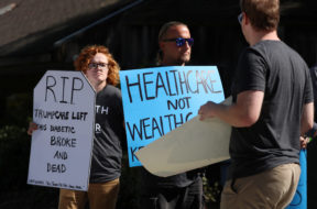 The SoCal Health Care Coalition protests U.S. President Donald Trump's executive order on healthcare at UC San Diego in La Jolla