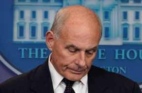 White House Chief of Staff John Kelly speaks during a daily briefing at the White House in Washington