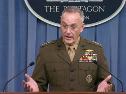 U.S. Joint Chiefs of Staff Chairman General Dunford speaks to media about Niger at Pentagon in Washington