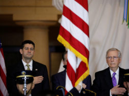 Speaker of the House Paul Ryan and Senate Majority Leader Mitch McConnell look on during a ceremony to present the Congressional Gold Medal to Filipino veterans of the Second World War on Capitol Hill in Washington