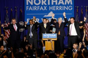 Virginia Governor Elect Ralph Northam celebrates his election night rally in Fairfax