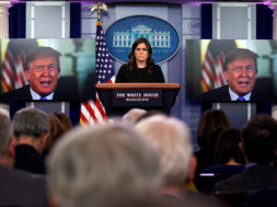 U.S. President Donald Trump is seen as he delivers a message during the daily briefing hosted by U.S. White House Press Secretary Sarah Huckabee Sanders at the White House in Washington, DC