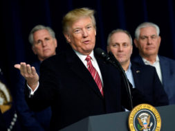 President Donald Trump speaks to the media after the Congressional Republican Leadership retreat