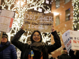 "Deferred Action for Childhood Arrivals (DACA) recipient Gloria Mendoza participates in a demonstration in support of ""clean"" legislation in New York"