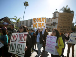 DACA recipients and supporters protest for a clean Dream Act outside Disneyland in Anaheim