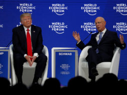 U.S. President Trump talks with Schwab, Founder and Executive Chairman of WEF attend the World Economic Forum in Davos